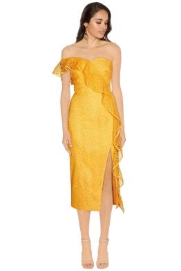Rebecca Vallance - Baha Strapless Midi Dress - Yellow - Front