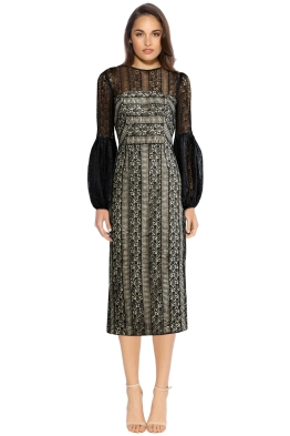 Rebecca Vallance - Lou Lou Gather Sleeve Dress - Black Lace - Front