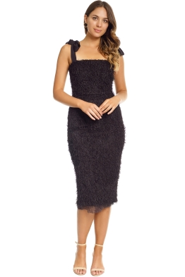 Rebecca Vallance - Martina Tie Shoulder Midi - Black - Front