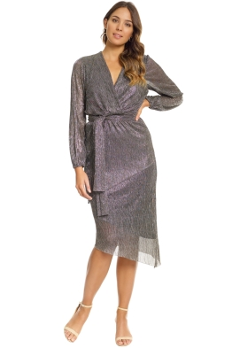 Rebecca Vallance - Paparazzi Drape Long Sleeve Dress - Metallic Silver - Rebecca Vallance - Paparazzi Drape Long Sleeve Dress - Metallic Silver - Front
