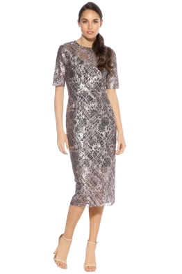 Rebecca Vallance - Ring My Bell Lace Dress - Pink Foiled - Front