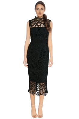 Rebecca Vallance - Sophia Midi Lace Dress - Black - Front