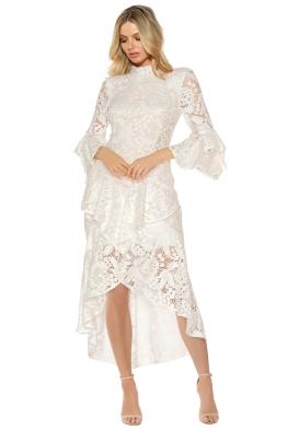 Rebecca Vallance - The Society Frill Midi Dress - White - Front