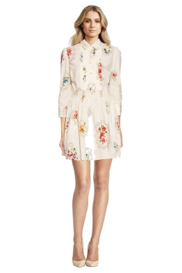 RED Valentino - Smocked Detail Floral Print Dress - Front