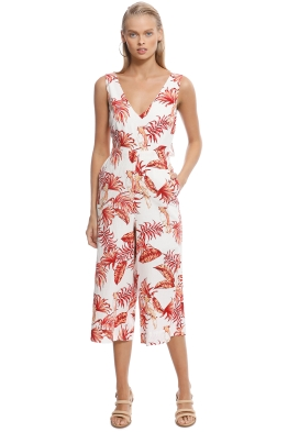Rodeo Show - Love Bird Jumpsuit - White Floral - Front