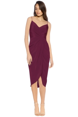 Rodeo Show - Saskia Drape Dress - Wine - Front