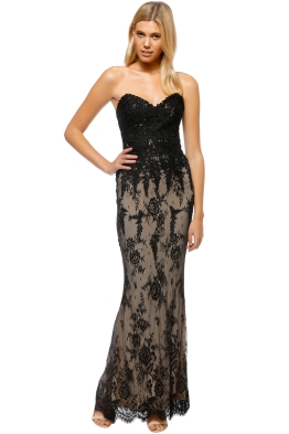 Rose Noir - Bella Lace Gown - Black - Front