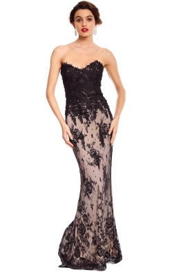 Rose Noir - Bella Lace Gown - Black Nude - Front