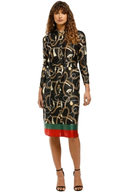 Sabine-Printed-Button-Down-Shirt-Dress-Black-Print-Front