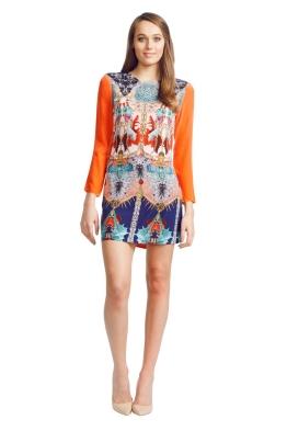 Sara Phillips - Violet Print Dress - Front - Orange