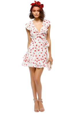 Saylor - Cassandra Dress - White Floral - Front