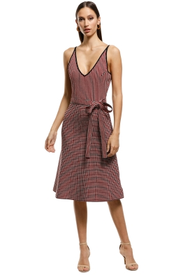 Scanlan Theodore - Crepe Knit Plaid Dress - Red - Front