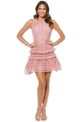 Self-Portrait - Cross Hatch Frill Mini Dress - Pink - Front