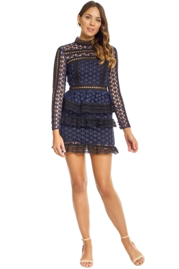 Self - Portrait - High Neck Star Lace Paneled Dress - Navy - Front