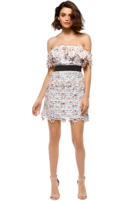 Self Portrait - 3D Floral Mini Dress - Pastel - Front