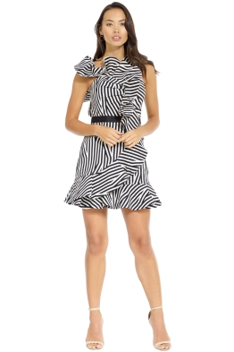 Self Portrait - Abstract Ruffle Dress - Black - Front