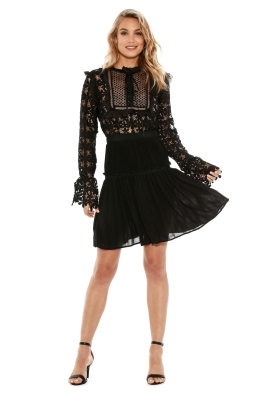 Self Portrait - Adeline Lace Up Pleated Dress - Front