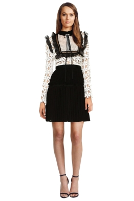 Self Portrait - Adeline Lace Up Pleated Dress - White - Front