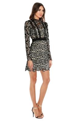 Self Portrait - Antoinette Floral Guipure Lace Dress - Black - Side