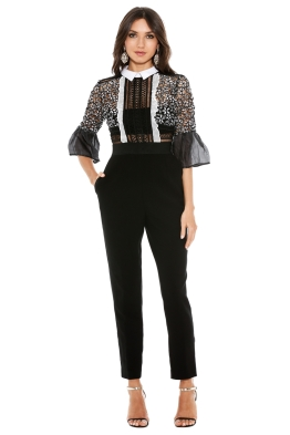 Self Portrait - Bell Sleeve Jumpsuit with Collar - Black - Front