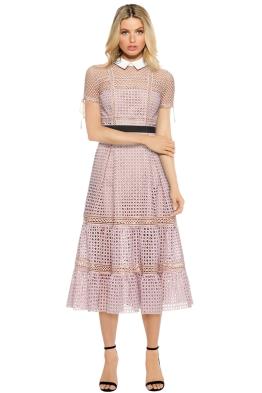 Self Portrait - Cross Hatch Tiered Midi Dress - Pastel Pink - Front