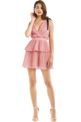 Self Portrait - Cutwork Mini Dress - Pink - Front