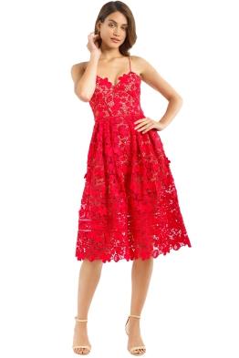 Self Portrait - Floral Azaelea Dress - Tomato Red - Front
