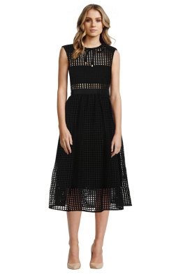 Self Portrait - Freya Guipure Lace Midi Dress - Black - Front