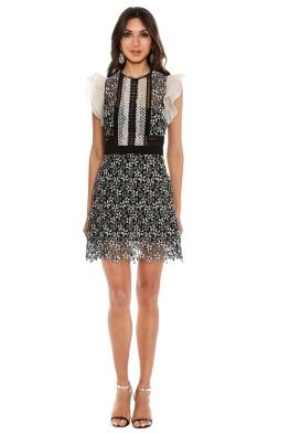 Self Portrait - Frill Sleeved Daisy Guipure Mini Dress - Front