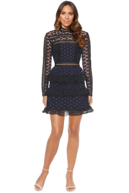 Self Portrait - High Neck Star Lace Panelled Dress - Navy - Front