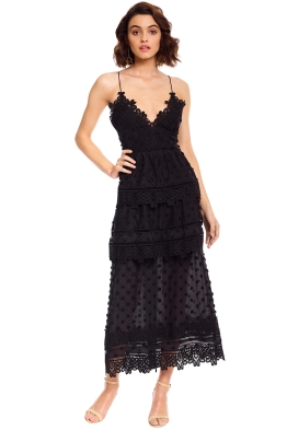 Self Portrait - Ivy Lace Trim Midi - Black - Front
