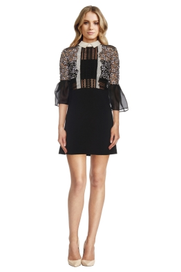 Self Portrait - Bell Sleeve Dress with Collar - Front