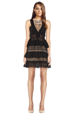 Self Portrait - Lace Up Tiered Dress