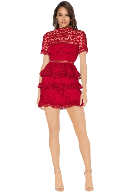 Self Portrait - Red High Neck Star Lace Panelled Dress - Front