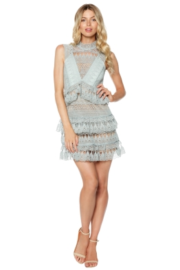 Self Portrait - Teardrop Guipure Paneled Mini Dress - Front