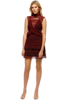 Self Portrait - Teardrop Guipure Panelled Mini - Burgundy - Front