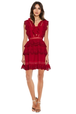 Self Portrait - Tiered broderie-anglaise mini dress - Red - Front