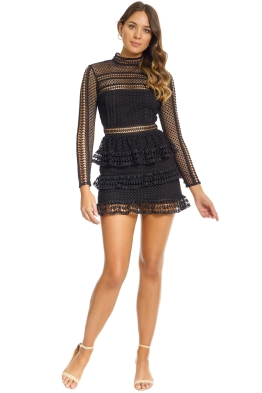 Self Portrait - Tiered Guipure Lace Mini Dress - Black - Front