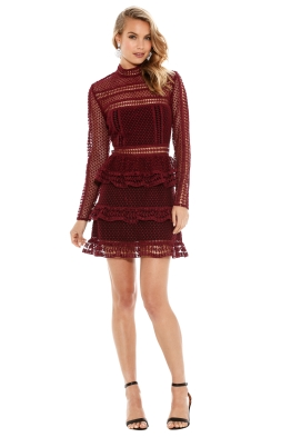 Self Portrait - Tiered Guipure Lace Mini Dress - Maroon - Front