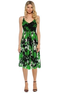 Shakuhachi - Green Cami Midi Dress - Green Floral - Front