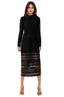 Shakuhachi - Lace Borders Midi Dress + Tulle Underlay - Front