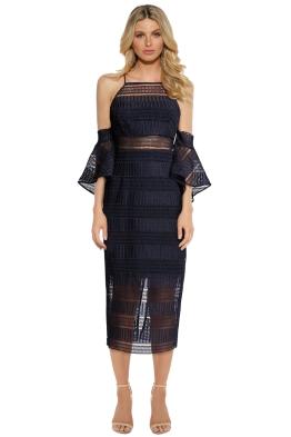 Shona Joy - Aruba Flared Sleeve High Neck Midi Dress - Navy - Front