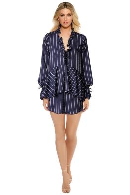 Shona Joy - Bermuda Lace Up Mini Dress - Navy - Front