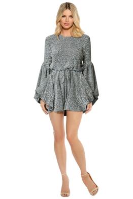 Shona Joy - Bonnie Balloon Sleeve Drawstring Mini Dress - Gray - Front