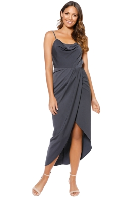 Shona Joy - Core Lace Up Cowl Maxi Dress - Gray - Front