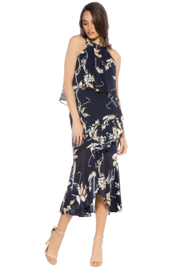 Shona Joy - Curacao Cross Frill Midi Dress - Print - Front