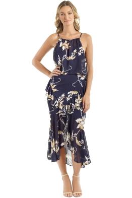 Shona Joy - Curacao Cross Frill Midi Dress - Navy Floral - Front