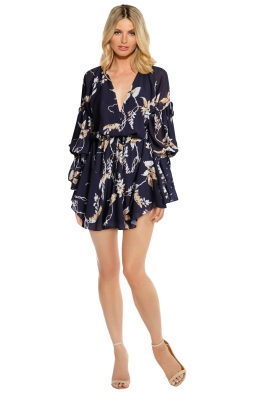 Shona Joy - Curacao Tie Sleeve Mini Dress - Front - Floral Print