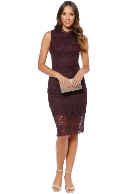 Shoshanna - Mirian Dress - Aubergine - Violet - Front