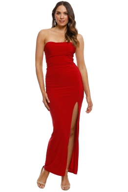Skiva - Strapless Split Evening Dress - Red - Front